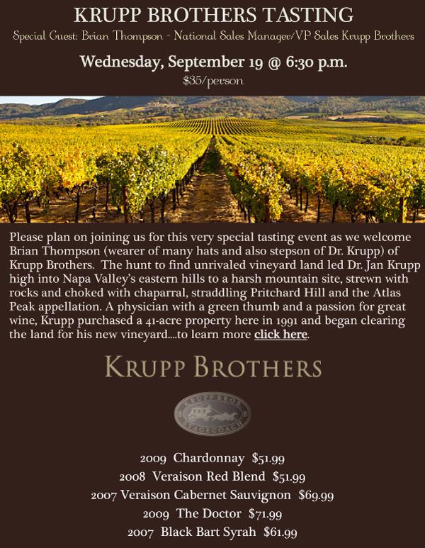 Krupp Brothers Tasting